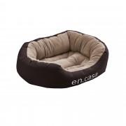 [en.casa]® Pelech - pre mačky a psov - s obojstranným vankúšikom - oxford látka / PP-bavlna - 65 x 50 x 23 cm [M] - tmavo hnedý / svetlo hnedý
