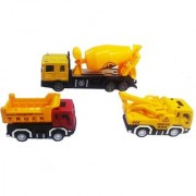 Emob Battery Operated Cement Mixer Truck with 2 Mini Pull Back Vehicle Construction Trucks (Multicolor)