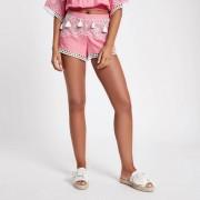 River Island Womens Pink broderie tassel trim beach shorts (Size XS)