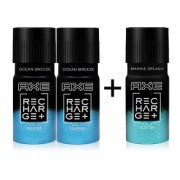 AXE Recharge 24x7 Deo For Men 150ml x 3 (2pcs Ocean Breeze+1pc Marine Splash) Pack of 3