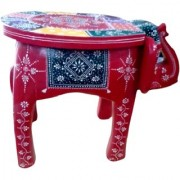 Metalcrafts Wooden Painted Stool. Made of mango wood. Rajasthani design. Elephant shape. Elegant attractive look. 37cm
