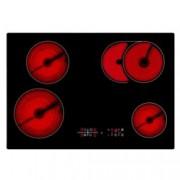 Стъклокерамичен плот за вграждане Baumatic BHC750, 4 нагревателни зони, сензорно управление, таймер, черен