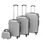 vidaXL Комплект от 4 броя твърди куфари на колелца, сребристи