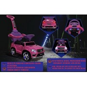Ride On Cars 4-in-1 Mercedes Car Riding Push Toy - Licensed GL63 with Push Handle - Pink