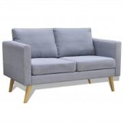 vidaXL Двуместен диван, тапицерия от плат, светлосив