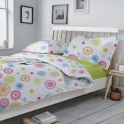Lenjerie de pat Dormisete Smile LimeX 200x220 / 50x70 bumbac 100 pentru pat 2 persoane 4 piese cearsaf pat uni Verde-Lime