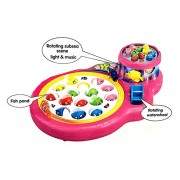 Vreeny Rotating Fish Catching Game with Fishes, Fishing Rod, Fishing Pond and Music Lights. (Pink)