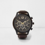 River Island Mens Brown round face watch (One Size)