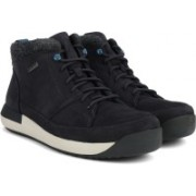 Clarks Johto Hi GTX Dark Blue Nubuck Boots For Men(Black)