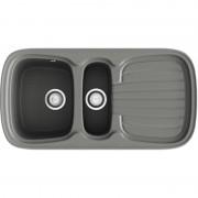 Poalgi - Lava-louças de 2 pias com escorredor Concret 97,5 x 50,5 cm Opalo Basic Poalgi