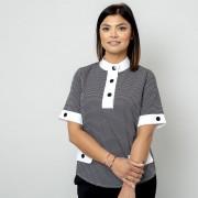 Női rövid ujjú póló, finom sötétkék mintázattal 10829