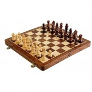Triple S Handicrafts Wooden Folding Non- Magnetic Chess With Storage Of Pieces Set 12 X 12 Inches