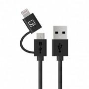 Tucano 2-in-1 Lightning and MicroUSB Cable - USB кабел 2в1 за Lightning и MicroUSB устройства (черен)