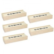 Set Of 5~ Double 6 Six Dominoes Domino Wooden Box 28 Tiles Portable Family Game Great Gift Us Seller