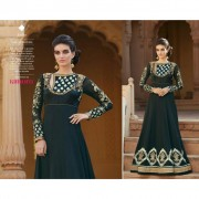 Heavy embroidered semi stitched anarkali with stone work Black Anarkali dress material