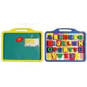 Toyztrend Educational Alphabet Slate 2 in 1 to Learn Pictures, Spellings & Alphabets along with Green Chalk writing board in Assorted Colour for Kids Ages 3+