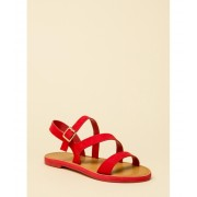 CheapChic It's Fate Strappy Faux Suede Sandals Red