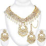 Spargz Gold Plated Traditional Jewellery Kundan Pearl Indian Bollywood Bridal Necklace Set with Maang Tikka For Women AI