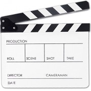 Professional Black & White Acrylic Clapper Board Slate With Stick For TV Film Home Movie Action Scen