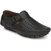 Cyro Men's Black Synthetic Leather Slip On Casual Sandal