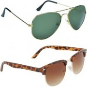 Zyaden Aviator, Oval Sunglasses(Green, Brown)
