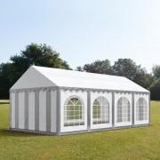 Intent24.fr Tente de réception 4x8m PVC 500 g/m² gris imperméable barnum, chapiteau