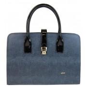 Elegantní šedo-modrá aktovková kabelka se sponou S563 GROSSO