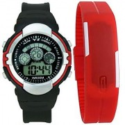 Crude Smart Combo Digital Watch-rg528 With Adjustable PU Strap - for Boy's Kid's