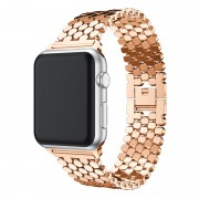 XINCUCO D-Button Buckle Stainless Steel Fish Scale Shape Watch Strap Band for Apple Watch Series 5 4 40mm / Series 3 2 1 38mm - Rose Gold