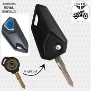 Flip Key Right Cut Blue color Blank Key for Logo Royal bullet Enfield - Standard / Electra / Classic - 350/500