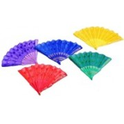 Oxytrends Foldable Self Design Multicolor Hand Fan(Pack of 5)