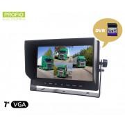 """Cúvací DVR monitor 7"""" LCD + nahrávanie zo 4 kamier na kartu do 128 GB SDXC"""