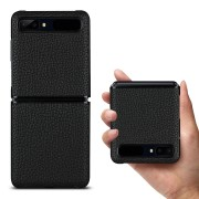Litchi Texture Genuine Leather + TPU Phone Casing for Samsung Galaxy Z Flip - Black