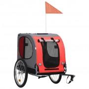 vidaXL Кучешко ремарке за велосипед, червено и черно