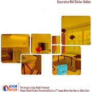 Look Decor-7 Decorative-(Golden-Pack of 7)-3D Acrylic Mirror Wall Stickers Decoration for Home Wall Office Wall Stylish and Latest Product Code Number 1397