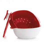 Mediterrán Pro tál 2,25 L piros szűrőbetéttel Tupperware