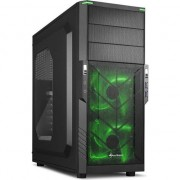 Carcasa Sharkoon T3-W, Midi Tower, ATX, 2 Porturi USB 3.0, Panou Acryl Lateral, Negru cu Verde