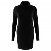 Vestido Casual E-Thinker mujer elegante con cuello alto y manga larag de forma slim - Negro