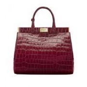 Dockery Snap Bag Large Bordeaux Croc
