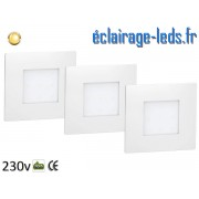 Kit support LED Blanc encastrable Sol et Mur blanc chaud 1W 230v ref sms-04