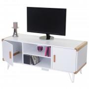 TV-Rack Toledo, Fernsehtisch Lowboard mit Bambus, weiß 120x50x45,5cm ~ Variantenangebot