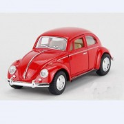 New Classic 1967 Volkswagen Vw Classic Beetle Bug Vintage Diecast Metal Pull Back Car (Red)
