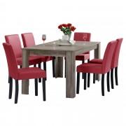 [en.casa]® Blagovaonski stol - rustični hrast - 160x90 cm - sa 6 tapeciranih stolica - crvena - Sinj