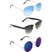 Abner Aviator, Clubmaster, Round Sunglasses(Blue, Black, Multicolor)