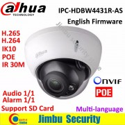 Dahua 4MP IP Dome Camera IPC-HDBW4431R-AS H.265 night vision IR30m have Audio in/out security cctv POE network camera IK10 IP67