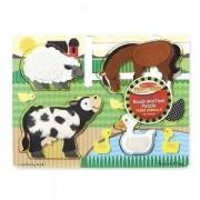 Дървен тектилен пъзел Фермата 4 части Melissa and Doug, 000772143272