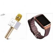 Zemini DZ09 Smartwatch and Q7 Microphone Karrokke and Bluetooth Speaker for LG OPTIMUS L3 II(DZ09 Smart Watch With 4G Sim Card Memory Card| Q7 Microphone Karrokke and Bluetooth Speaker)