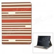 Stripe patron de cuero PU caja de cuero con soporte para IPAD AIR 2 - marron + rojo oscuro + beige