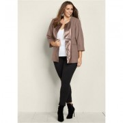 Plus Size Faux Leather Trim Jacket Jackets & Coats - Brown