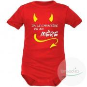 SiMEDIO Body bébé rigolo : j'ai le caractère de ma MÈRE - Rouge Courtes 4-6 mois